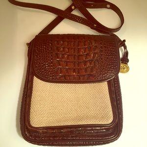 Brahmin cross body brown croc straw purse